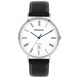 Titanium Heren Horloge met Zwart Lederen Horlogeband van Prisma