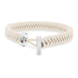 Witte Touw Armband met Edelstalen Sluiting van Tommy Hilfiger TJ2701073