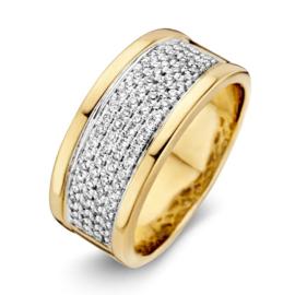 Excellent Jewelry Brede Geelgouden Ring met Brede Diamant Strook