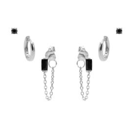 Karma Jewelry – Zesdelige  Black on Black Earparty Set - Zilver