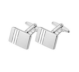 Rechthoekige Zilveren Manchetknopen met Dubbele Lijnen