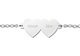 Names4ever Armband met Dubbele Naamhartjes van Zilver
