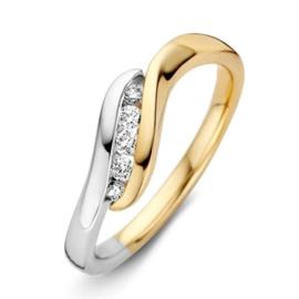 Excellent Jewelry Bicolor Ring met Golvende Briljant Strook