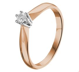 Bicolor Ring met Transparante Diamant