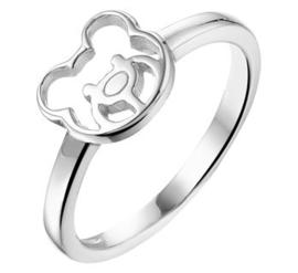 Gepolijste Zilveren Ring met Opengewerkte Berenkop