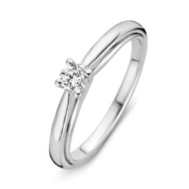 Excellent Jewelry Bolstaande Witgouden Ring met 0,20 crt. Briljant