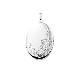 Ovaal Foto Medaillon van Zilver met Bloemen Decoratie | 19 x 26 mm