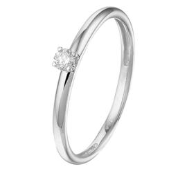 Slanke Witgouden Ring met Diamant en Palladium