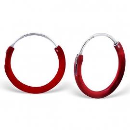 Zilveren creolen voor Kids in de kleur rood