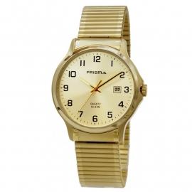 Prisma Heren Rekband Horloge / Goudkleurige all Stainless Steel