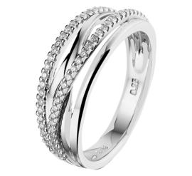 Witgouden Ring met Meerdere Stroken en Diamanten