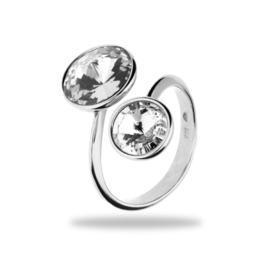 Piruli Zilveren Ring met Witte Swarovski kristallen