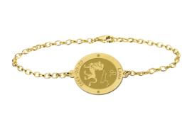 Gouden Armband met Ovaalvormige Leeuw Sterrenbeeld Naamhanger > Names4ever