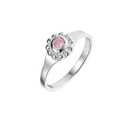 Zilveren Ring voor Kinderen met Rond Kopstuk met Roze Zirkonia