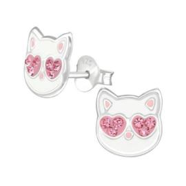 Kitty Kinderoorbellen van Zilver met Roze Zirkonia's
