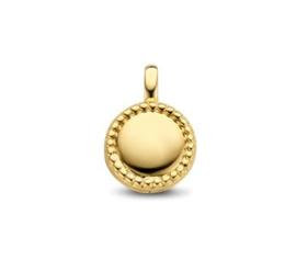 Ronde Zilveren Medaillon met Goudkleurige Coating 17 / 12 mm