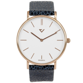 Prisma Roségoudkleurig Heren Horloge met Blauwe Vacht Horlogeband