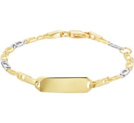 Gouden Bicolor Graveer Kinderarmband | 13,5 - 15 cm