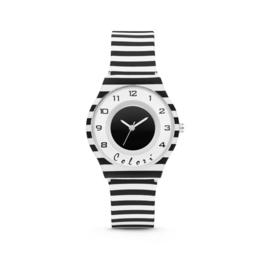 Zwart Wit Gestreept Horloge van Colori Junior
