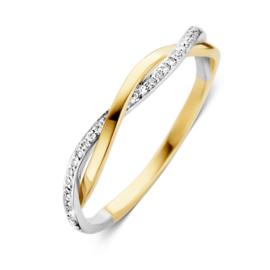 Excellent Jewelry Gedraaide Bicolor Ring met Diamanten