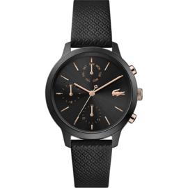 Zwart Dames Horloge met Zwarte Lederen Band van Lacoste
