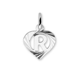 Hartvormige Zilveren Letter R-Bedel