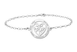 Zilveren Armband met Opengewerkte Levensboom en Hart Naamhanger > Names4ever