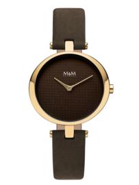 M&M Horloge met Bruin Lederen Horlogeband voor Dames
