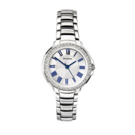 Sekonda Zilverkleurig Dames Horloge met Blauwe Romaanse Cijfers