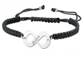 Zilveren Infinity Shamballa Armband ZNA06-zwart > Names4ever