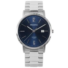 Zilverkleurig Edelstalen Heren Horloge met Blauwe Wijzerplaat