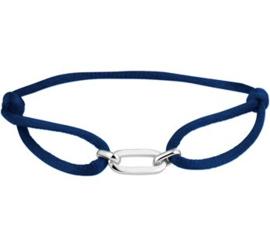 Blauw Gevlochten Armband met Zilveren Elementen