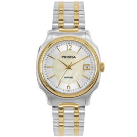 Prisma Dames Horloge met Parelmoer Wijzerplaat en Goudkleurige Elementen