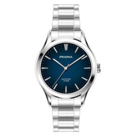 Prisma Zilverkleurig Balm Dames Horloge met Blauwe Wijzerplaat