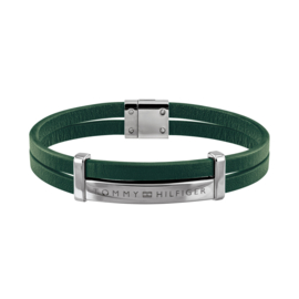 Groen Lederen Dubbele Armband van Tommy Hilfiger