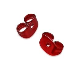 Rood stalen achterkantjes (stoppers) voor oorbellen