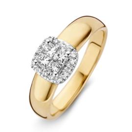 Excellent Jewelry Geelgouden Bolstaande Ring met Briljanten Kopstuk
