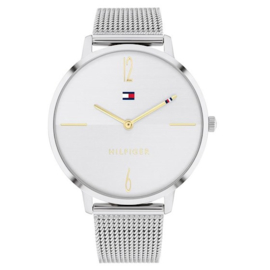 Tommy Hilfiger Zilverkleurig Dames Horloge met Goudkleurige Wijzers