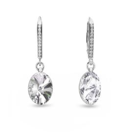 Spark Oval Chic Zilveren Oorhangers met Kleurloze Ovalen Glaskristallen