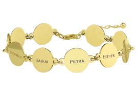 Names4ever Gouden Armband met Tien Rondjes met Naam GNA68