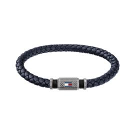 Blauw Lederen Gevlochten Armband van Tommy Hilfiger