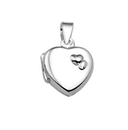 Klein Afsluitbaar Hartvormig Foto Medaillon van Zilver