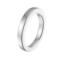 Stevige Egaal Gepolijste Ring van Gerhodineerd Zilver