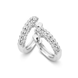 Excellent Jewelry Witgouden Bolstaande Dames Creolen met Diamanten