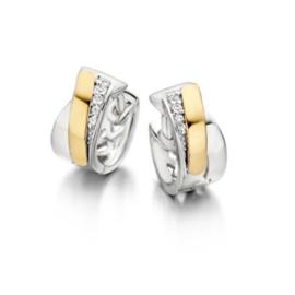 Excellent Jewelry Creolen van Zilver met Gouden Strook en Zirkonia's