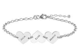 MOEDERDAG | Names4ever Zilveren Armband met Drie Naamhartjes ZNA62