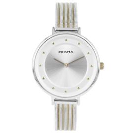 Robuust Zilverkleurig Dames Horloge van Prisma met Goudkleur