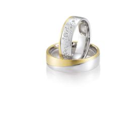 Gouden Inanna Trouwringen Set met Diamanten Patroon