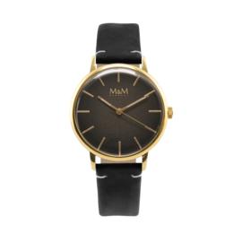 M&M Horloge met Goudkleurige Ronde Kast en Zwarte Horlogeband