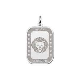 Rechthoekige Leeuw Sterrenbeeld Hanger van Zilver